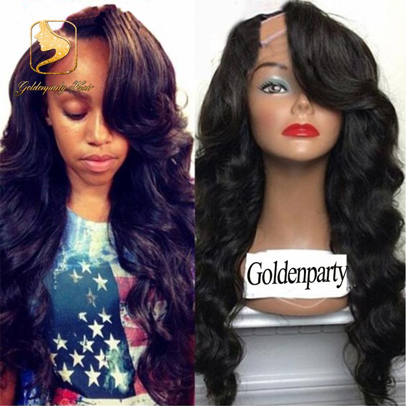 2016 New 8A Grade Unprocessed Virgin Brazilian Wavy U Part wig with bangs U Part human hair wig for black women 130% density<br><br>Aliexpress