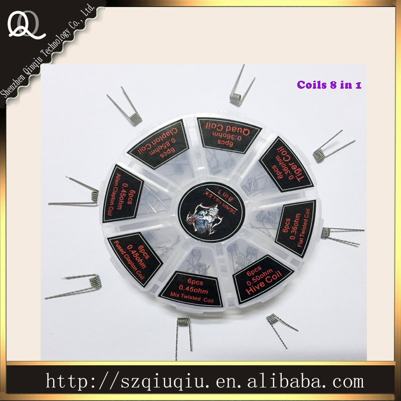 New manufacturer supply prebuilt Qiuqiu coils for RDA RBA atomizer coils 8 in 1 include clapton/hive/tiger/Alien/twisted coils(China (Mainland))