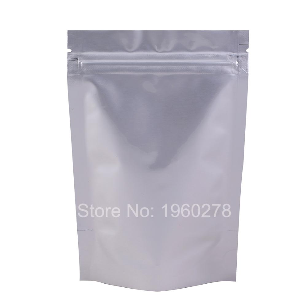 "8x12cm (3.1x4.7"") Heat seal foil bag Silver thick stand up pure aluminium ziplock bag tea food storage 100pcs/lot(China (Mainland))"