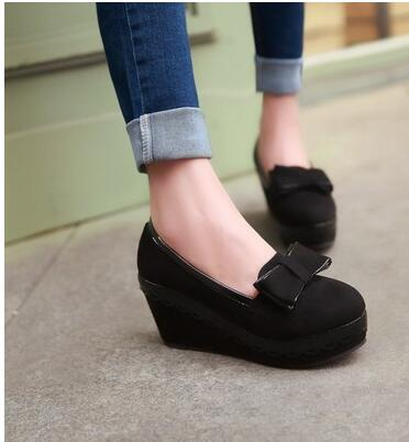 2016 spring new princess shoes bow slope with waterproof matte custom code at National Taiwan University, Ms. shoes Korean(China (Mainland))