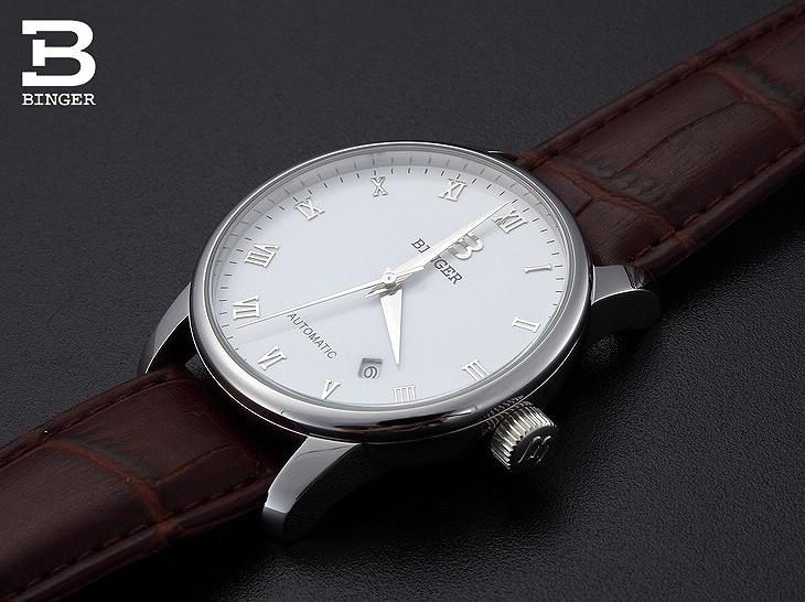 Швейцария часы мужские роскошные brand18K золотые Наручные Часы БИНГЕР бизнес Механические Наручные Часы кожаный ремешок B5005B-1