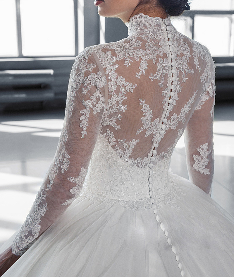 W3058 High Neck IIIusion Back Long Sleeve Wedding Dress 2016 Lace Ball Gown Wedding Gowns robe
