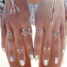 6PCS Vintage 2016 New turkish Punk Moon Ring Ethnic Carved Antique Silver Boho Midi Finger Rings for women Charm anelli Ring(China (Mainland))