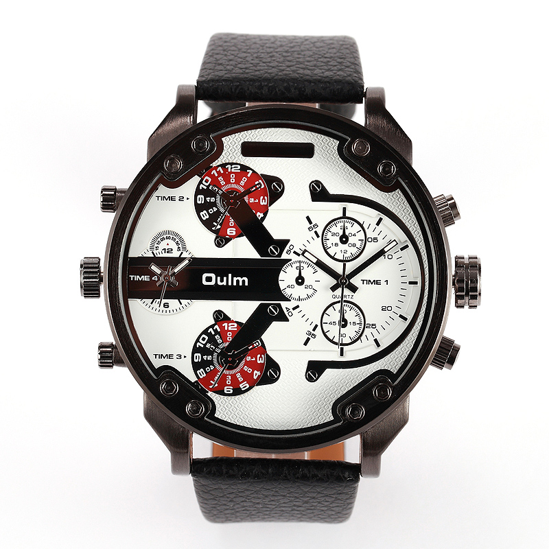 Oulm 3548 Men Dual-movt Big Dial Japan Sport Military Watches Relogio Masculino Stainless Steel Strap Wristwatches - Spring Smiles Tada Co.,Ltd. store