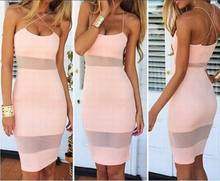 Stretch sexy fashion perspective of stitching strap dress cultivating wild nightclub ladies 2016 summer new European style trend