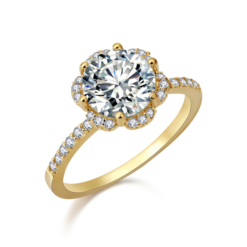 New Store Hot Selling Fashion Jewelry Gold Plated Cubic Zirconia Wedding Flower Rings For Women boda yeezy RS Jewelry(China (Mainland))