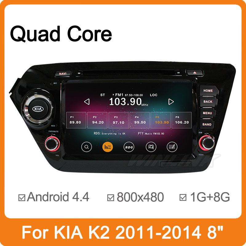 product Pure Android 4.4 Car DVD GPS for Kia K2 Rio Capacitive screen 1.6G CPU Quad Core 2G RAM Radio Video Player Support DVR 1024*600