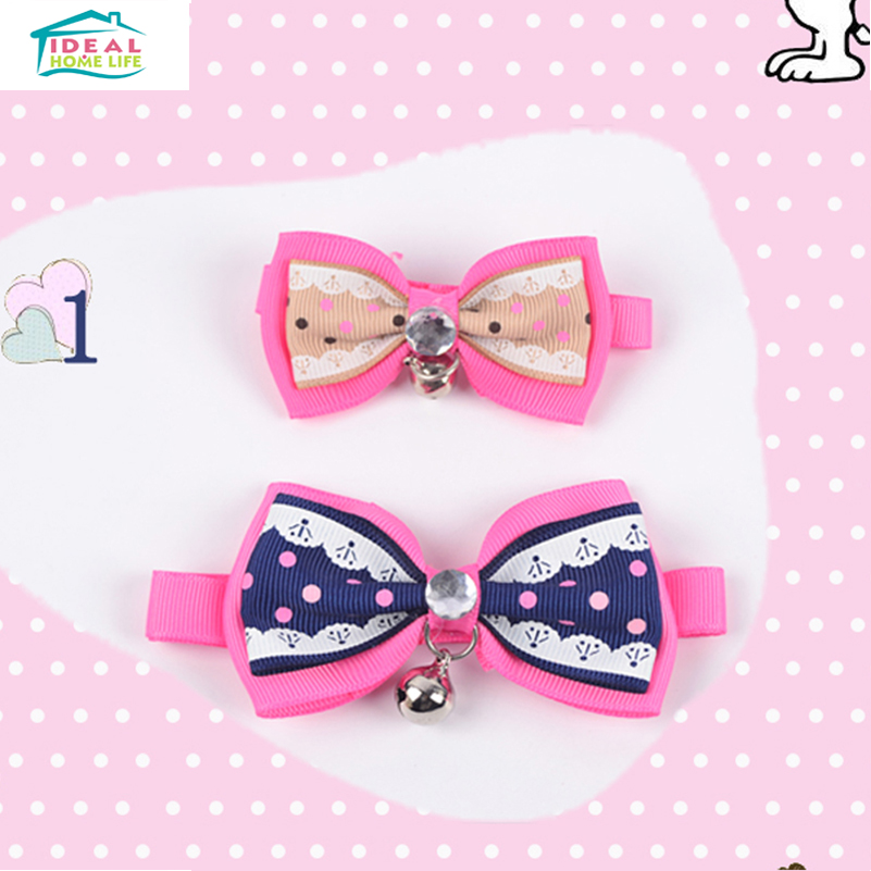 Hot Sale Double Bow Pet Collar Tie Decoration With Bell Rhinestone Adjustable Pets Dog Cat Kitten Collar Tie Random Color(China (Mainland))