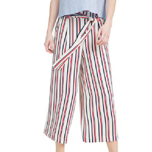 women color striped wide leg pants sashes & pockets design elastic waist trouses ladies loose Ankle-length casual pants KZ731(China (Mainland))