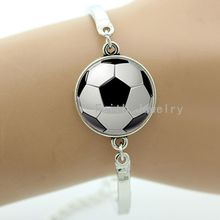 Fashion football bracelet classic black white soccer pattern handmade ball fans jewelry sports events & team gifts -1325(China (Mainland))