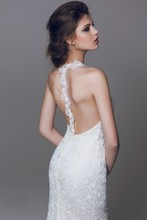 Exquisite Sweet Backless Halter Court Train Spaghetti Straps Sheath 2017 Chiffon With Embroidery Sexy Wedding Dress(China (Mainland))