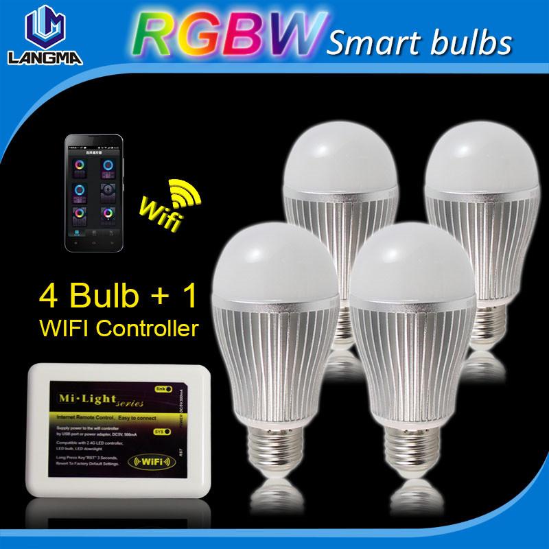 (4pcs bulb+1pc WIFI box) Smart phone wireless RGB Lighting Bulbs B22 9W WIFI rechargeble CE 140 Deg Shade in stock 9W rgb bulbs<br><br>Aliexpress
