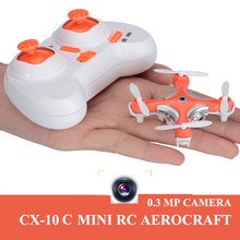 Crazy Selling CX-10C 2.4G 4CH RC Mini Helicopter Quadcopter Drone With 0.3MP HD Camera Remote Control Toy Orange/Black