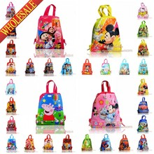 1pcs Spiderman Pig Princess Toy story Mario Minions school Cartoon Drawstring Backpack bag shopping Tote bags Kids Party gift
