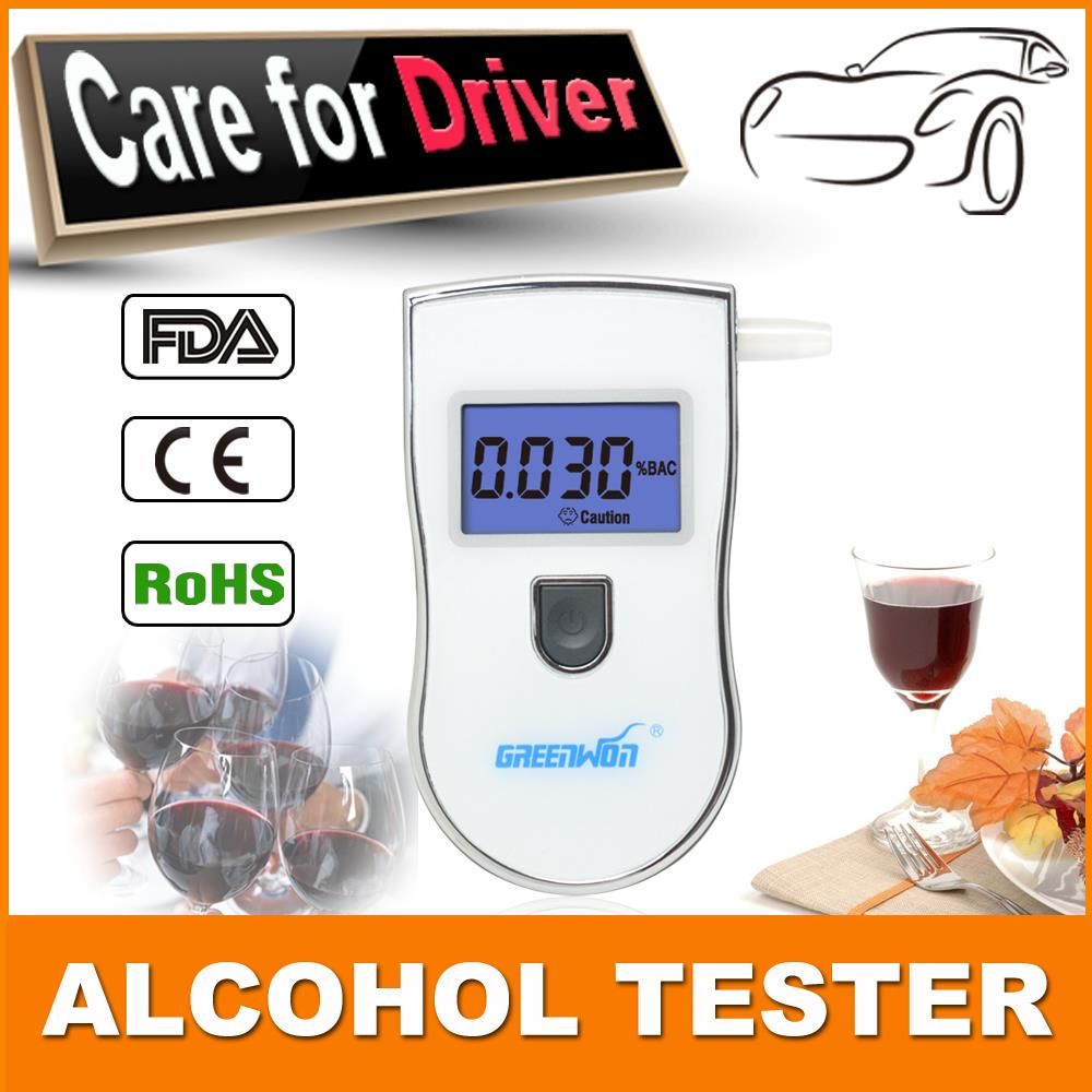 Drop shipping high precision digital alcohol tester breathalyzer alcometer alcohol tester with 5 mouthpieces(China (Mainland))