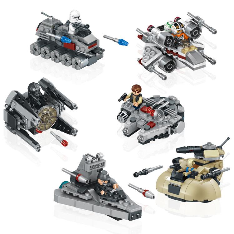6pcs/set Star Wars Minifigures Spaceship Clone Turbo Tank TIE Interceptor X-Wing Fighter AAT Legoelieds Building Blocks/Bricks от Aliexpress INT