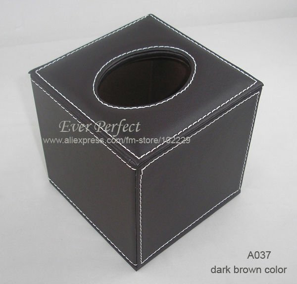square PU leather roll tissue box cover dispenser towel box napkin box table decoration dark brown color A037