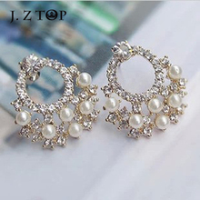 2016 Fashion Temperament Flowers Stud Earrings   Imitation Pearl Rhinestone Earrings Anti Allergic For Women Jewelry Accessories(China (Mainland))