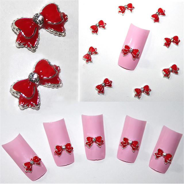20pcs Red 3d Alloy Bow Tie Rhinestones Nail Art DIY Beauty Accessories Nail Stud Decoration Glitters Slices Makeup Tips