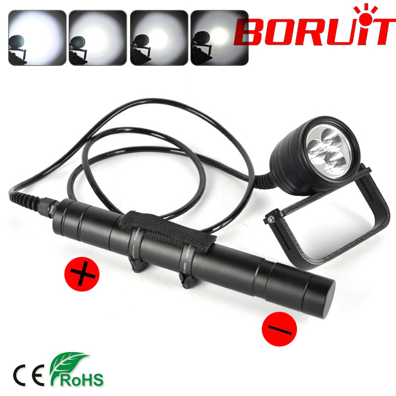 3000LM 3 XML-U2 LED Underwater 150M Scuba Diving Flashlight Torch 26650 Lamp Stepless switch 1 Year Warranty Free shipping<br>