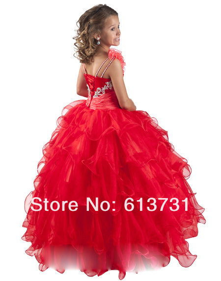 Aliexpress.com: Comprar Envío gratis 2013 Red Little Girls Pageant ...