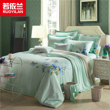 High Density Tencel Fabric Duvet Cover Set Four-piece Bedding Set Tencel Quilt Cover Bed Sheet for Adults Queen King Orchid(China (Mainland))