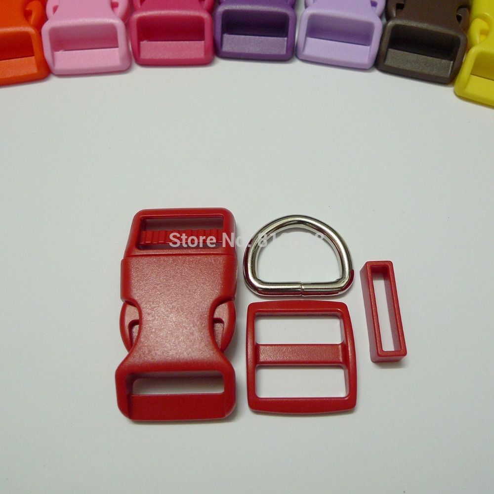 25 Sets 1'' 25mm #10 RED COLOR Dog Collar Hardware Curved Side Release Buckle Set(China (Mainland))