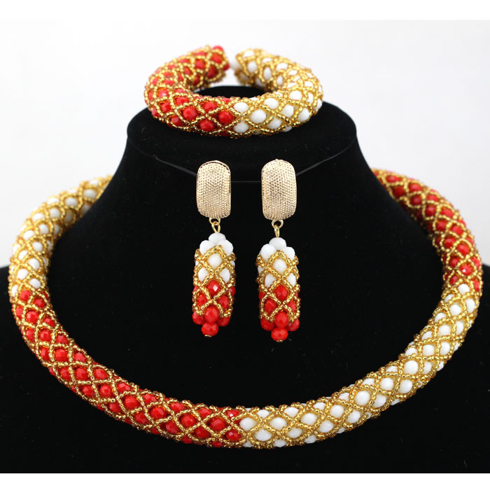 Popular Coral White African Crystal Beads Wedding Party Jewelry Set Gold Costume Necklace Set Crystal Free shipping WA965(China (Mainland))