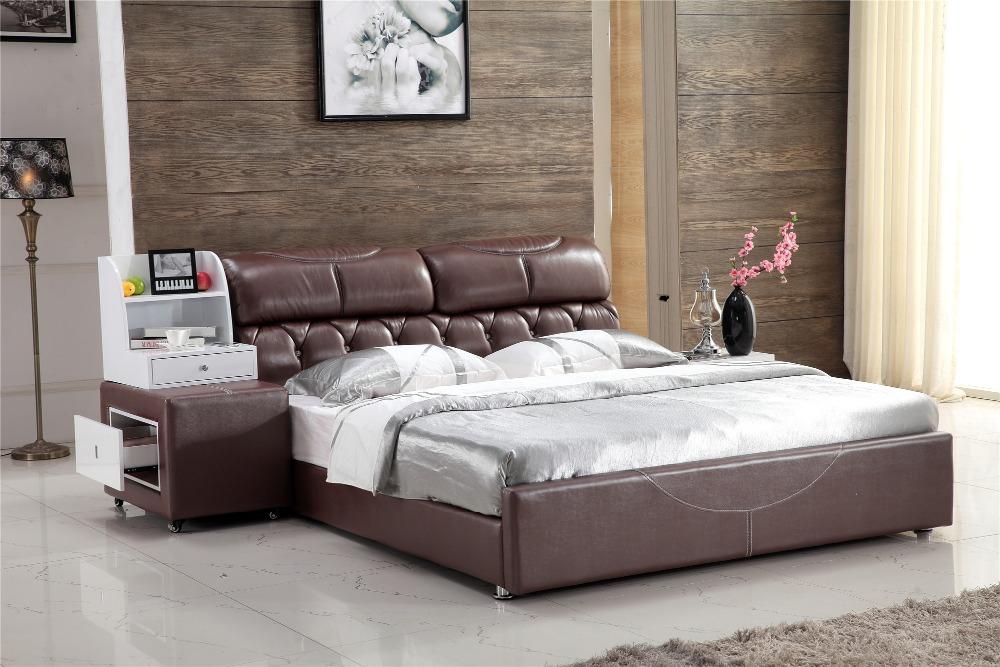 Online kopen wholesale donker hout bed uit china donker hout bed groothandel - Wit lederen bed ...