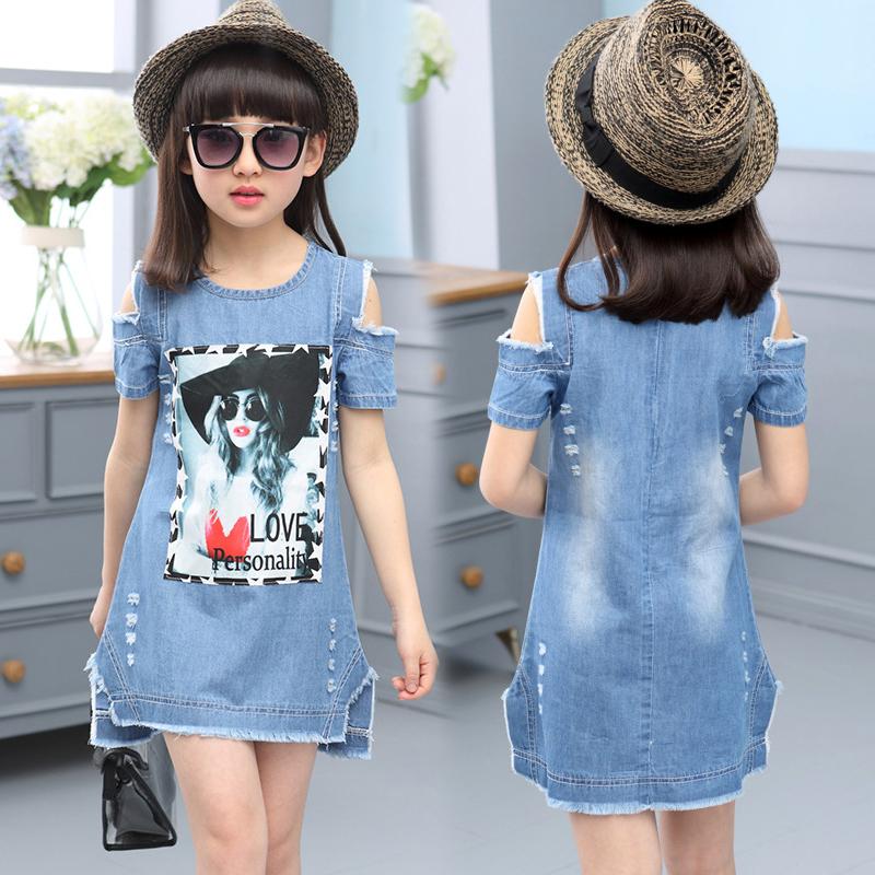 Children Dresses For Girls Denim Dress Summer Strapless Dress Pattern Girls Clothing Short Sleeve Child Clothes Denim T-Shirts(China (Mainland))