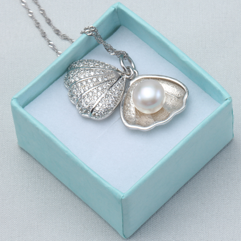 8-9MM AAA Fashion Pearl Pendant 925 Silver Pearl Jewelry,Natural Pearl Pendant Necklace,Freshwater Pearl Silver Choker Necklace(China (Mainland))