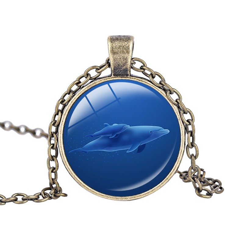 Shark necklace Glass Cabochon Shark Pendant Necklace Glass Dome Pendant Best Friend Jewelry Marine life Lucky Amulet Kids Gift(China (Mainland))
