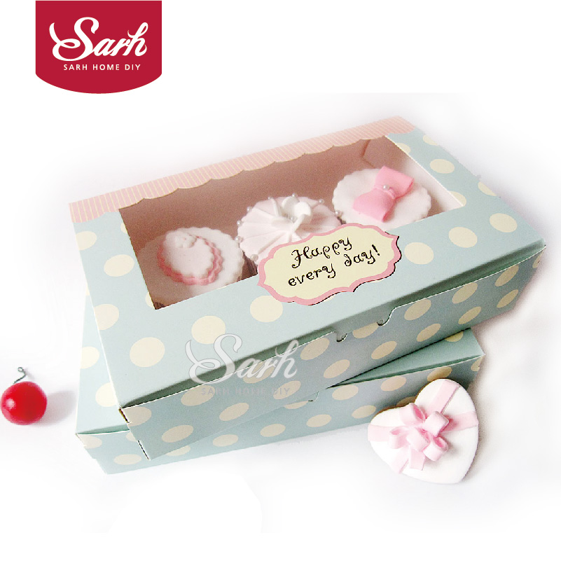 DGH047 Cookie Package the Happy Everyday Spot Macarons Box, Cake box, Chocolate, Muffin Biscuits Box 21.5x13.5x5cm 10pcs/lot(China (Mainland))