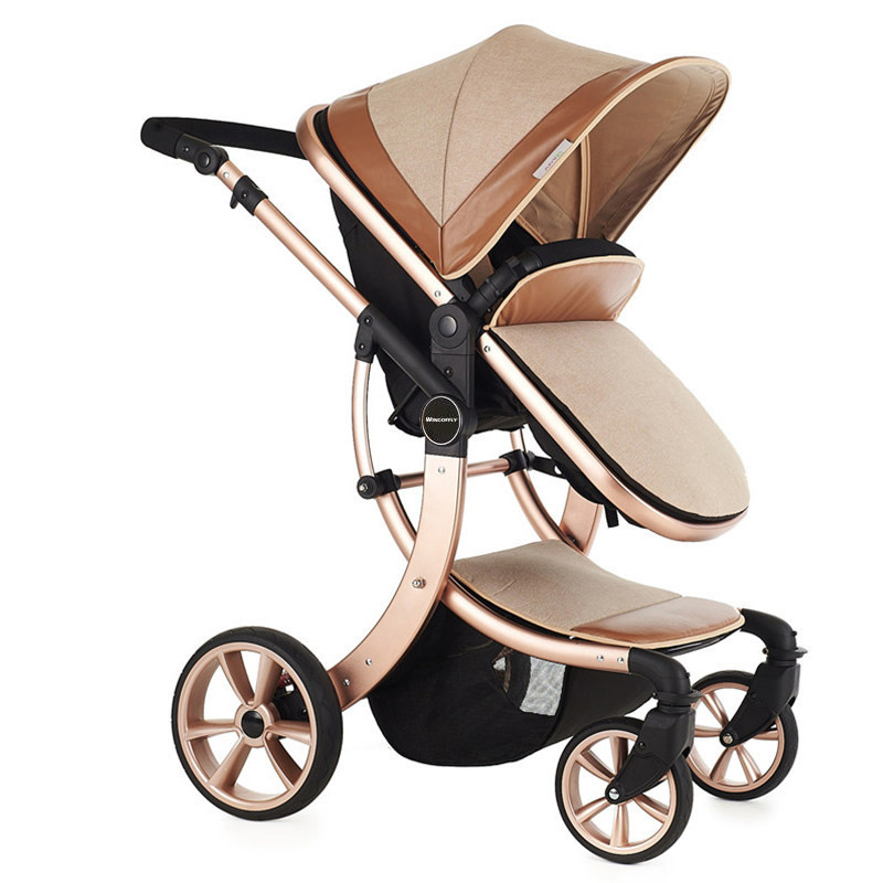 High Landscape Trolly Aluminum Alloy Frame Gold/White Pushchair for Kids 0-3 Years Old 7 Colors Child Cart Fast Delivery by EMS<br>