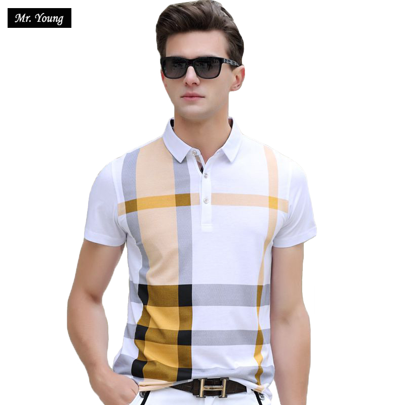 2016 Summer Men Polo Shirts Plaid Patchwork Short Sleeve Cool Mercerized Cotton Slim Fit Casual Business Men Shirts Luxury Brand(China (Mainland))
