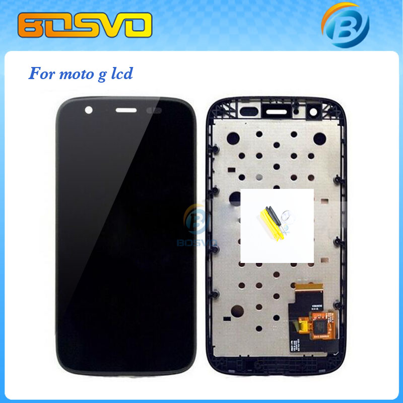 Replacement for Motorola moto g lcd xt1032 xt1033 display screen with touch digitizer with frame assembly 1 piece free shipping(China (Mainland))
