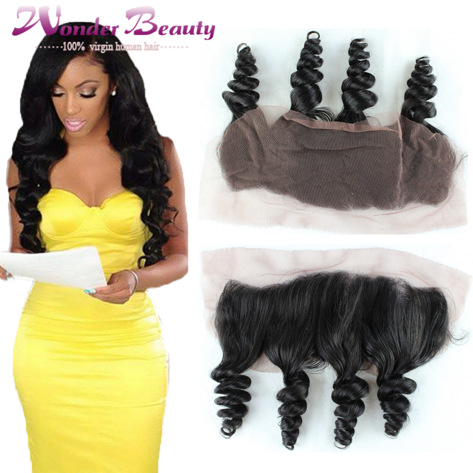 Фотография Grade 6A 13x4 Ear To Ear Full Lace Frontal Closure 1pc Malaysian Loose Wave Virgin Human Hair Free Shipping Top Lace Frontal