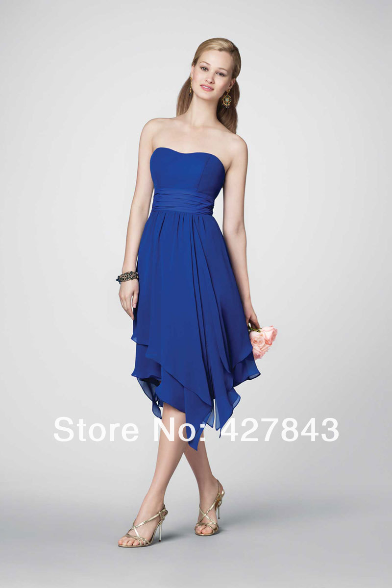W183-Tea Length Sleeveless Strapless Elegant Chiffon Bridesmaid Dress 2014 Royal Blue Brides Maid Wedding Party Dress