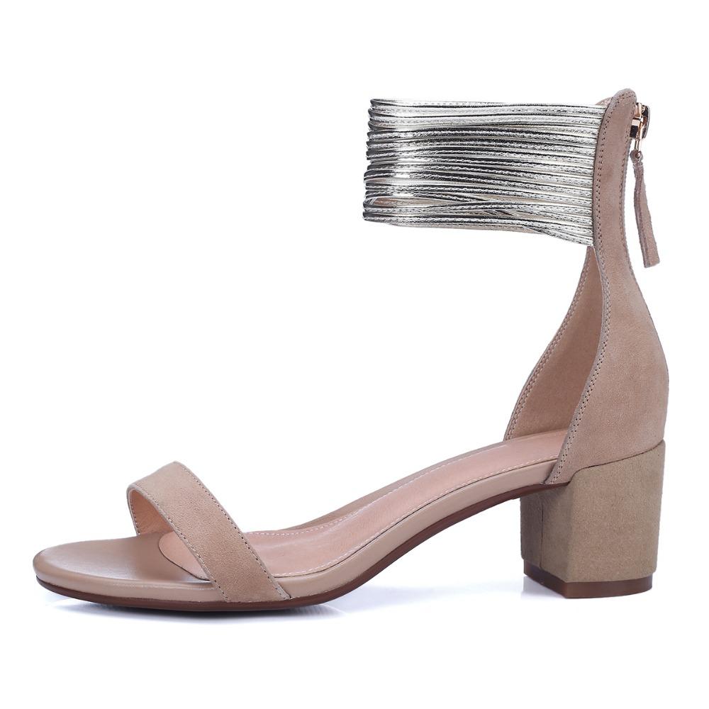 Elegant 2016 Women Sandals Sheepskin Peep Toe 5.5cm Square Sandals Nubuck Leather Black Beige Popular Shoes Woman US Size 4-8.5<br><br>Aliexpress
