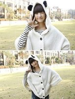 Новый свитер кроличьи уши топ черный, белая шерсть