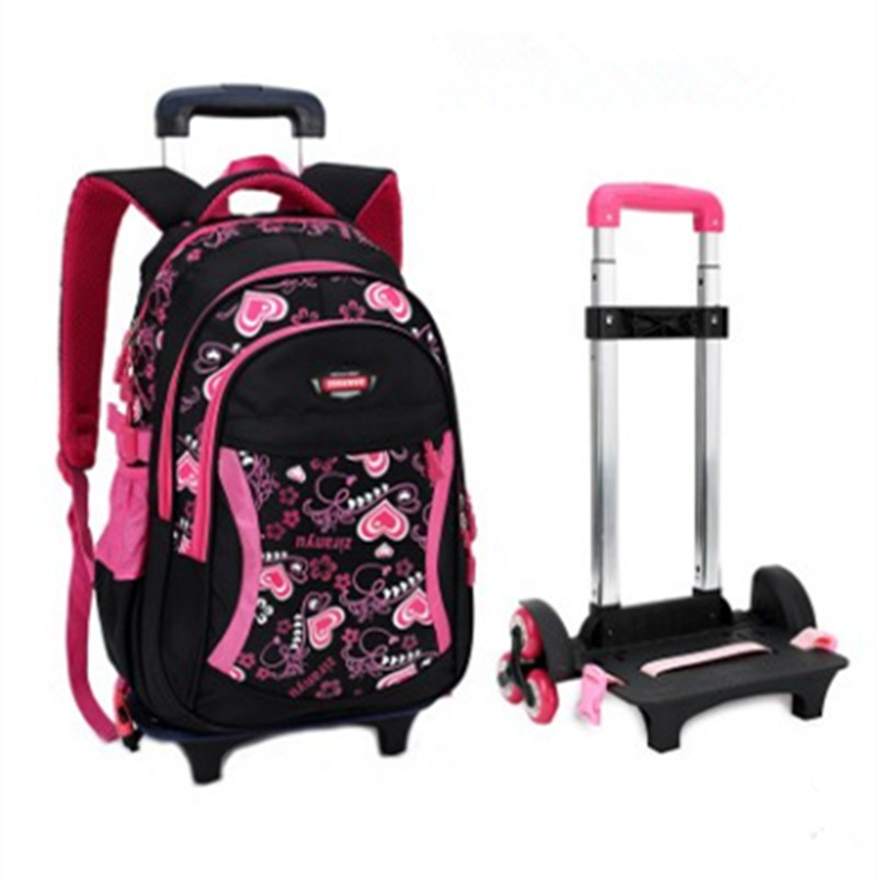 Letter Printing Girls Trolley School Bags Backpack Bag Three wheels Boy Primary Satchel Children Travel Luggage - RED MAO store