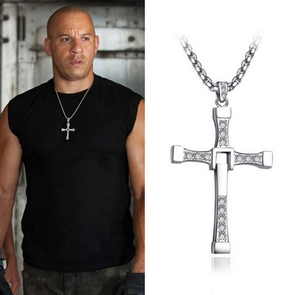 2015 New Fast and Furious Dominic Toretto Cross Pendant Necklace for Men Popular Silver Plated Movie Crystal Rope Chain Jewelry(China (Mainland))