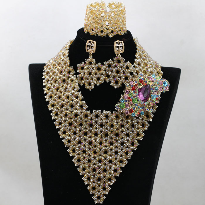 bridal crystal costume necklace set nigerian wedding fashion jewelry