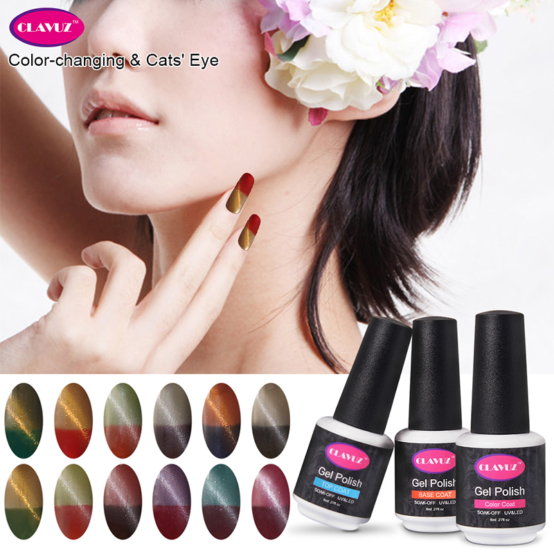 CLAVUZ 8ml Thermal Color Change Cat Eye Gel Polish Nail polish Manicure Gel Varnish Vernis Gel UV Color Nails Gel Professional(China (Mainland))