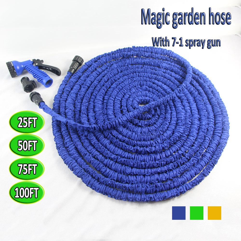 Free Shipping Flexible Magic Expandable Garden hose reels Stretch 45M Car watering auto 150FT Water Hose+Spray Gun Blue & Green(China (Mainland))