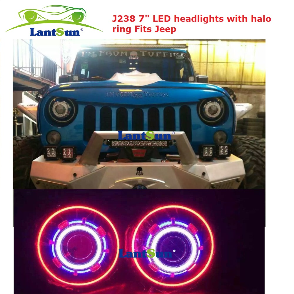 Pair hot sale NJ238 7 inch 35W round HID projector headlight with red led halo ring angel eyes fits jeep wrangler jk CJ TJ LJ(China (Mainland))