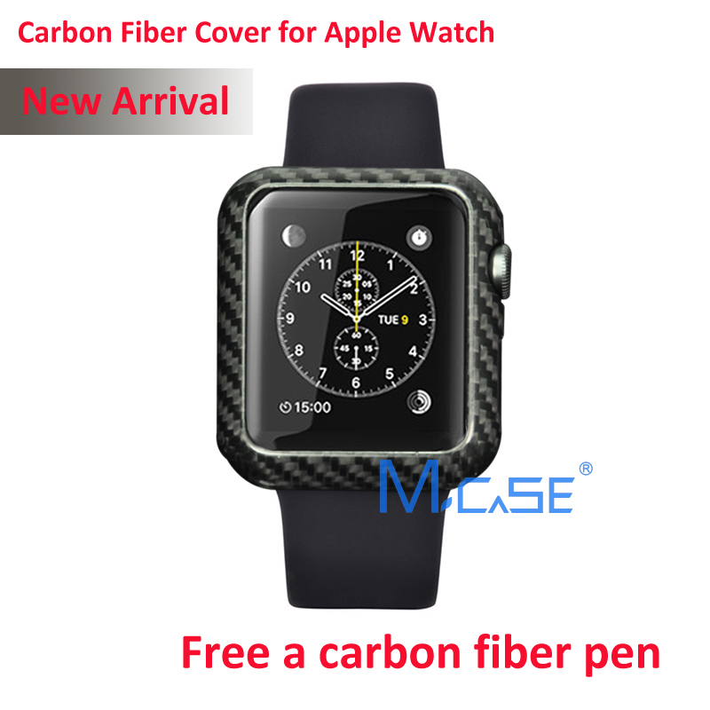 Mcase New Arrival For Apple Watch Carbon Fiber Cover Case 42mm Luxury Ultra Thin Genuine Carbon Fibre Cover For i Watch(China (Mainland))