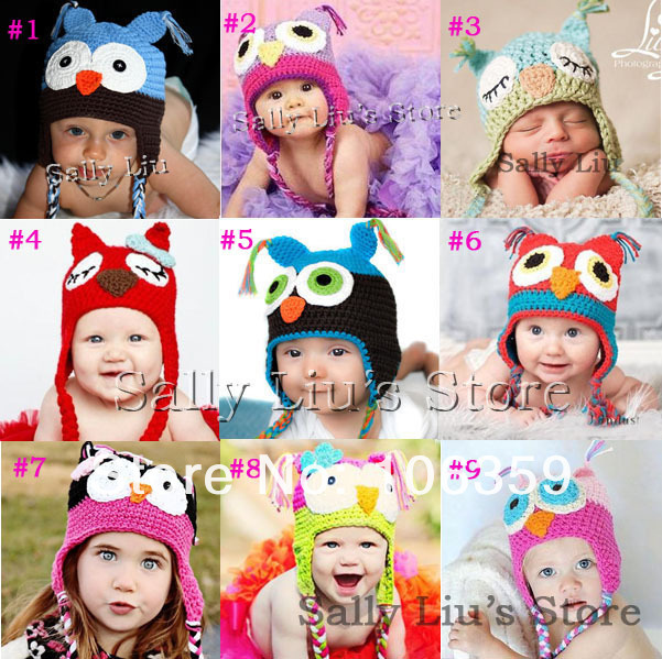2018 Crochet Pattern Baby Hat Handmade Knitted Toddler Owl Hat With