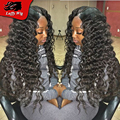Glueless Deep Wave Full Lace Wigs Virgin Malaysian Lace Front Human Hair Wigs Loose Deep Wave
