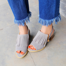 Buy 2016 summer Casual Women Shoes Zip solid color Square heel med heel fringe Open-toed sandals Nubuck leather big size 34-39 T856 ) for $23.97 in AliExpress store